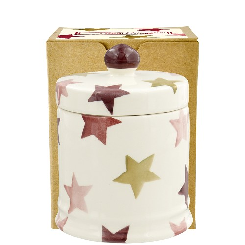 Small Lidded Candle Pink & Gold Stars