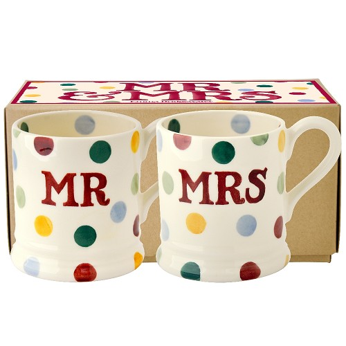 Boxed ½ Pt. Mugs Mr & Mrs Polka Dots