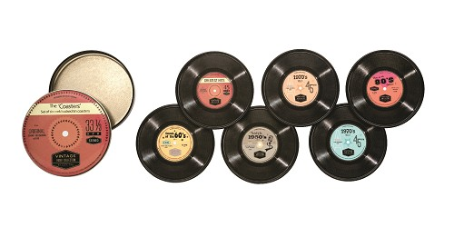 Set 6 Coasters Vintage Audio