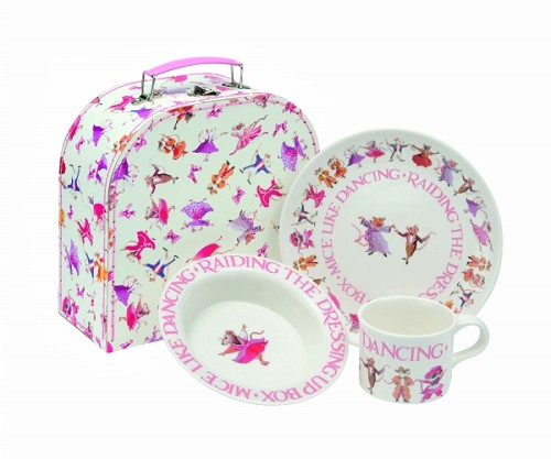 Melamine set in suitcase Dancing Mice