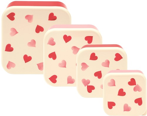 Set of 4 Snack Tubs - Pink Hearts