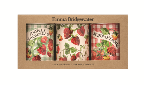 Set of 3 Caddy Tins Strawberries