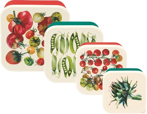 Set of 4 Snack Tubs - Vegetable Garden