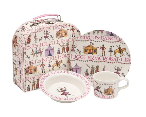 Melamine set in suitcase Circus