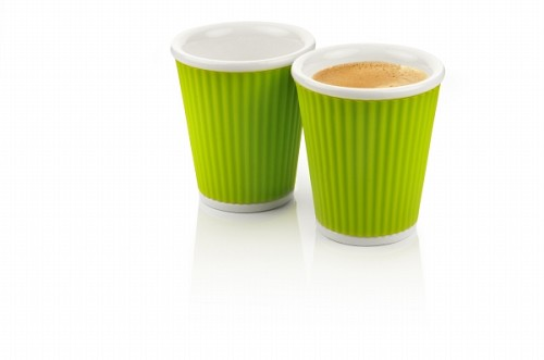 Set of 2 Coffee Cups 18cl Light Green