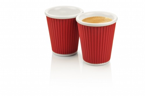 Set of 2 Coffee Cups 18cl Dark Red