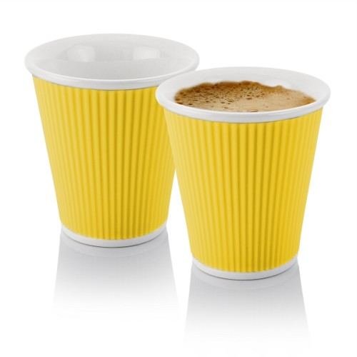 Set of 2 Coffee Cups 18cl Yellow