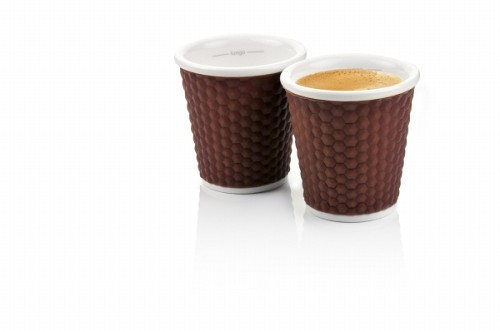 Set of 2 Honeycombs Espresso Cups 10cl Brown