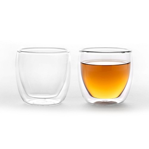 2x Duplex double wall glass cup 250ml