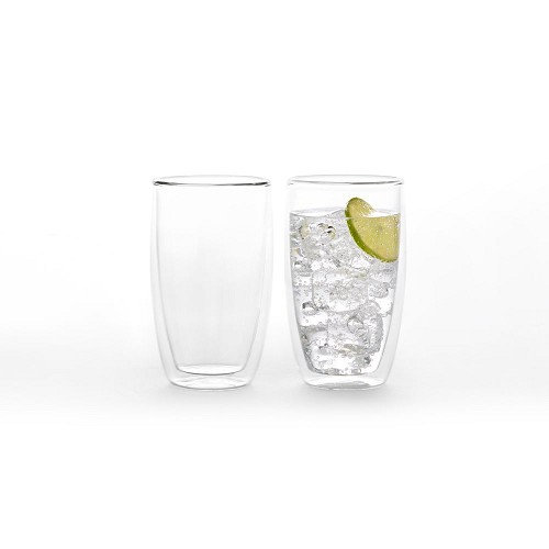 2x Duplex double wall glass cup 500ml